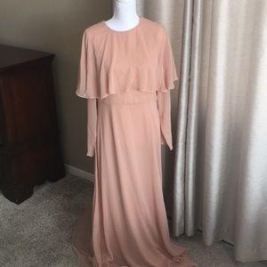 Blush chiffon vintage style maxi dress